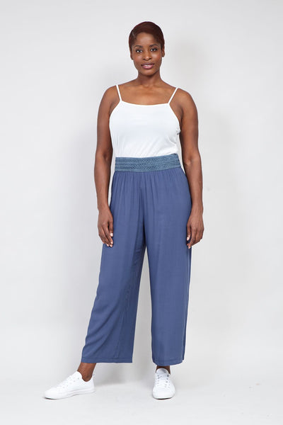 Navy | Curve Contrast Waist Wide Leg Trousers | Izabel London