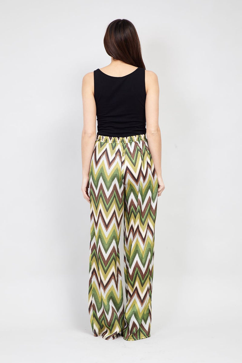 Green | Chevron Print Wide Leg Trousers