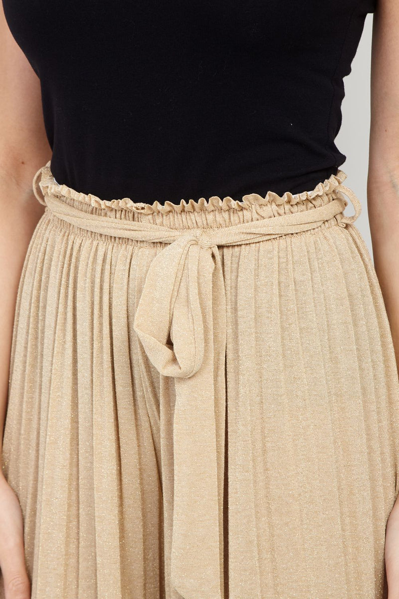 Beige | Tie Waist Pleated Trousers