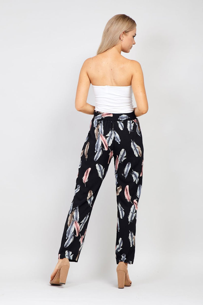 Black | Feather Print Wide Leg Trousers