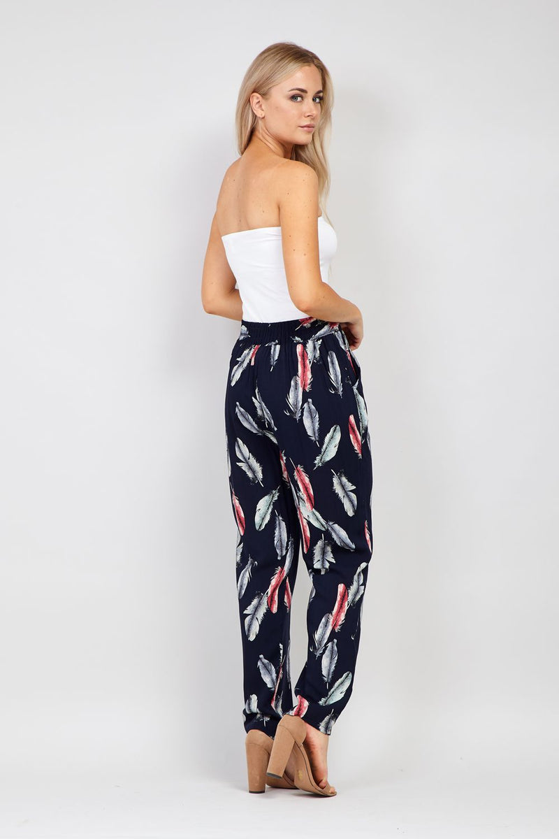Navy | Feather Print Wide Leg Trousers