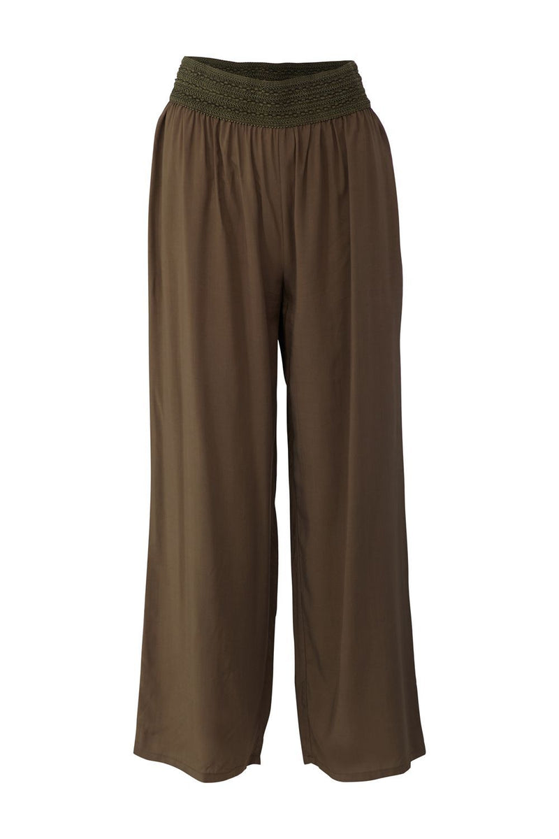 Khaki | Wide Leg Casual Trousers