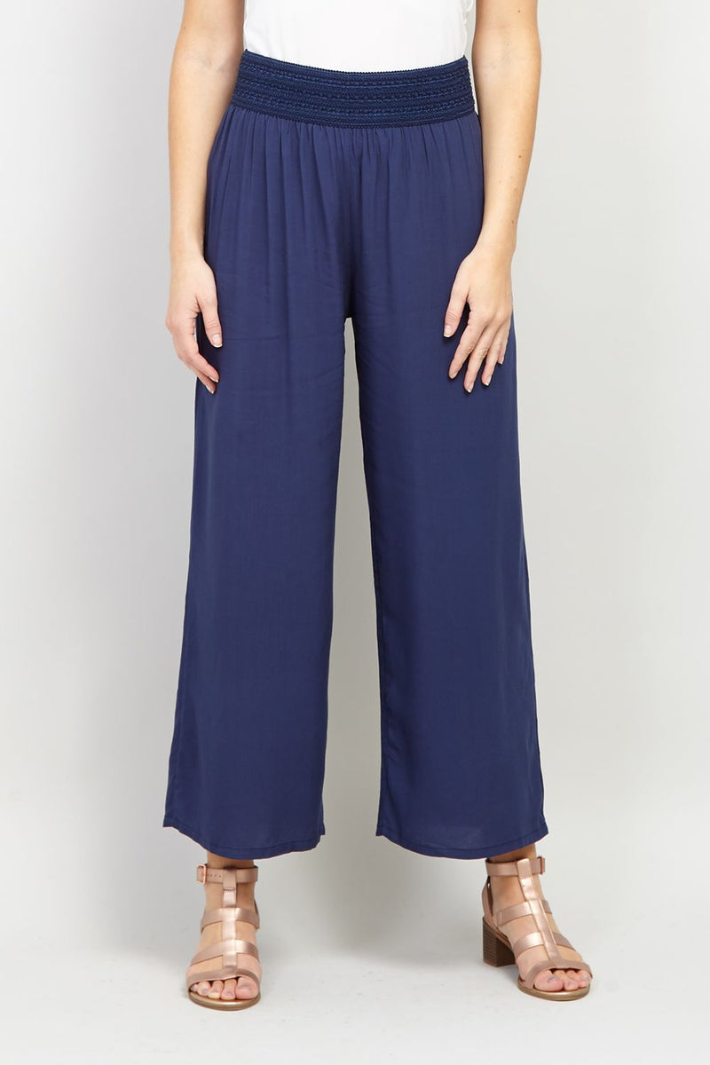 Navy | Wide Leg Casual Trousers