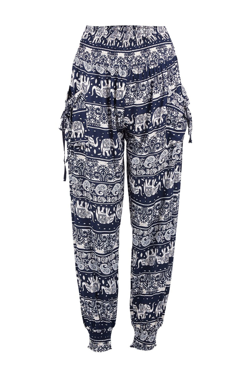 Navy | Tribal Harem Pants