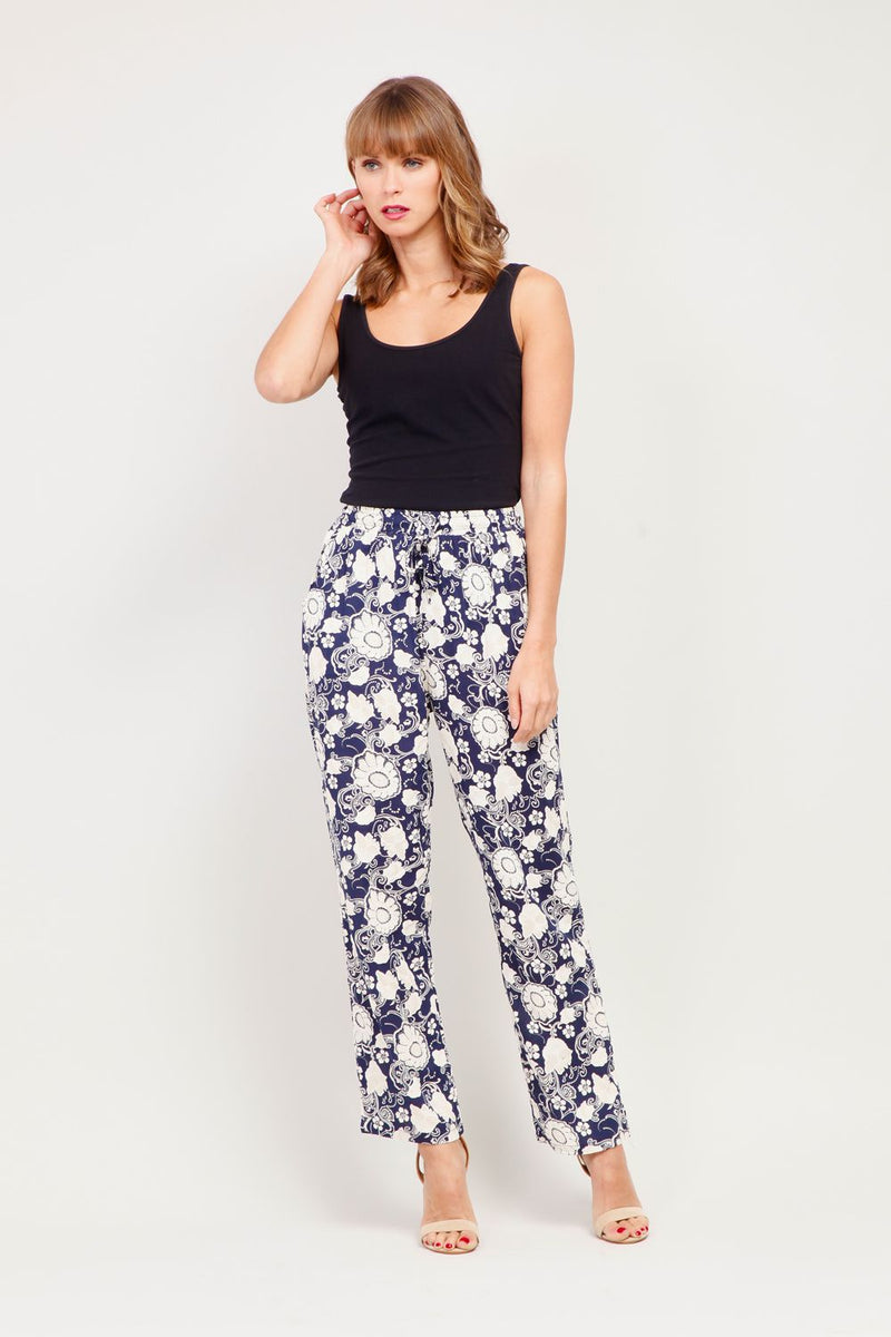 Navy | Floral Print Tie Waist Trousers