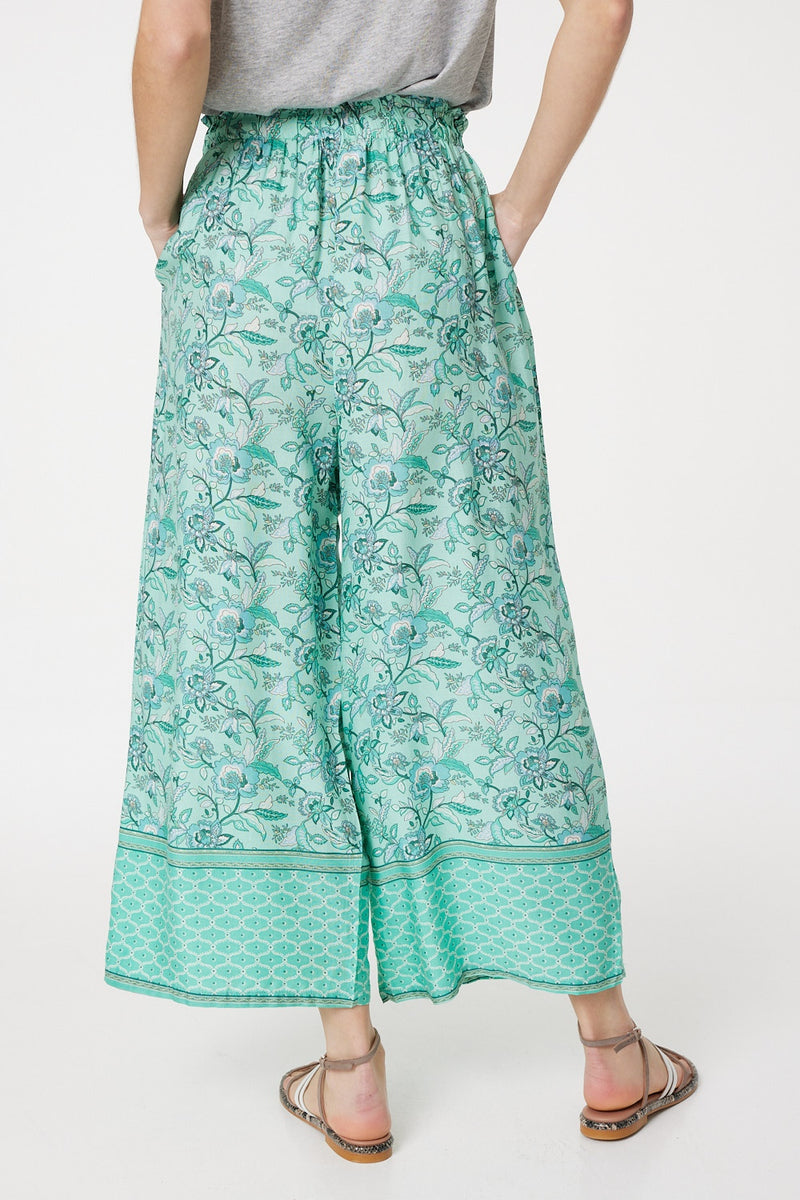 Green | Floral Wide Leg Cropped Trousers