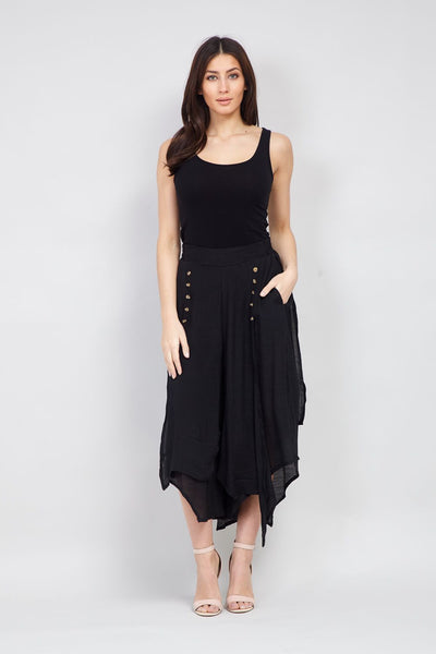 Black | Button Floaty Trousers