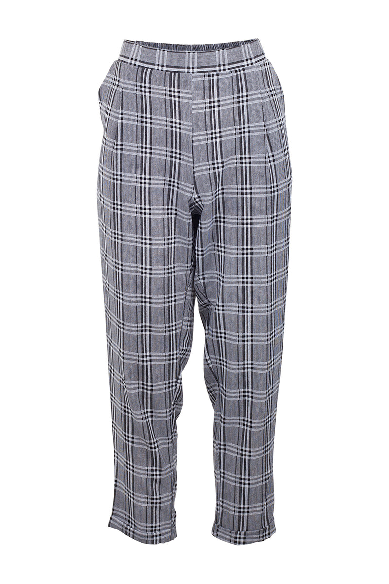 Grey | Checked Slim Leg Trousers