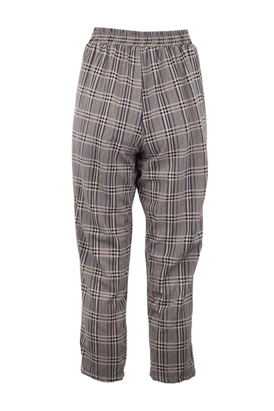 Checked Tie Waist Crop Trousers - Izabel London