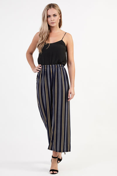 Striped Wide Leg Trousers - Izabel London