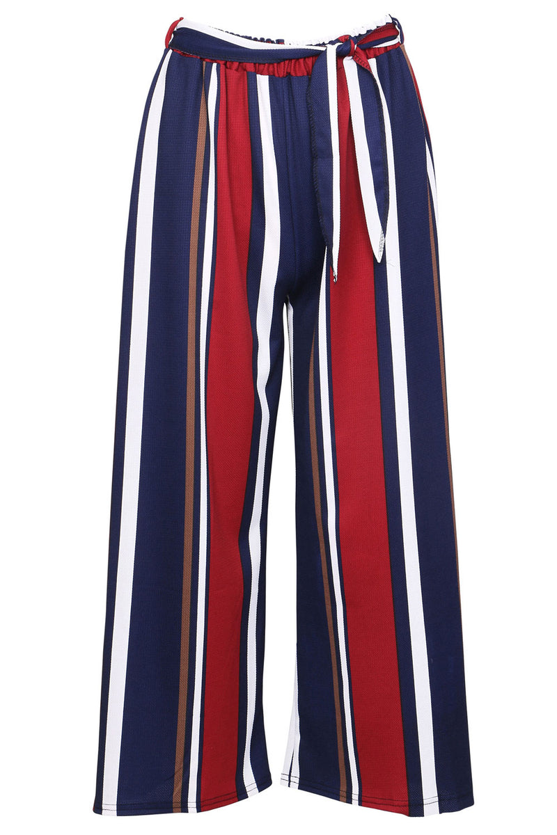 Navy | Striped Crop Trousers