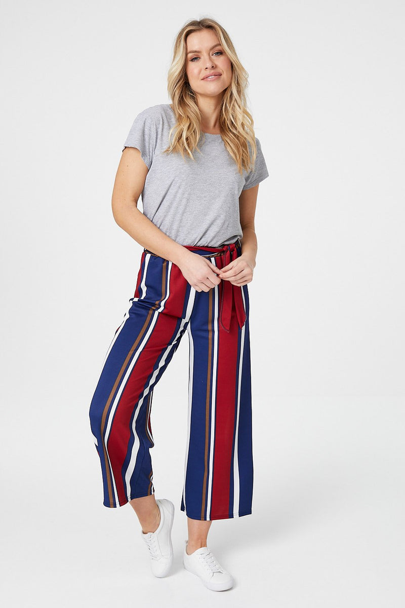 Navy | Striped Cropped Trousers