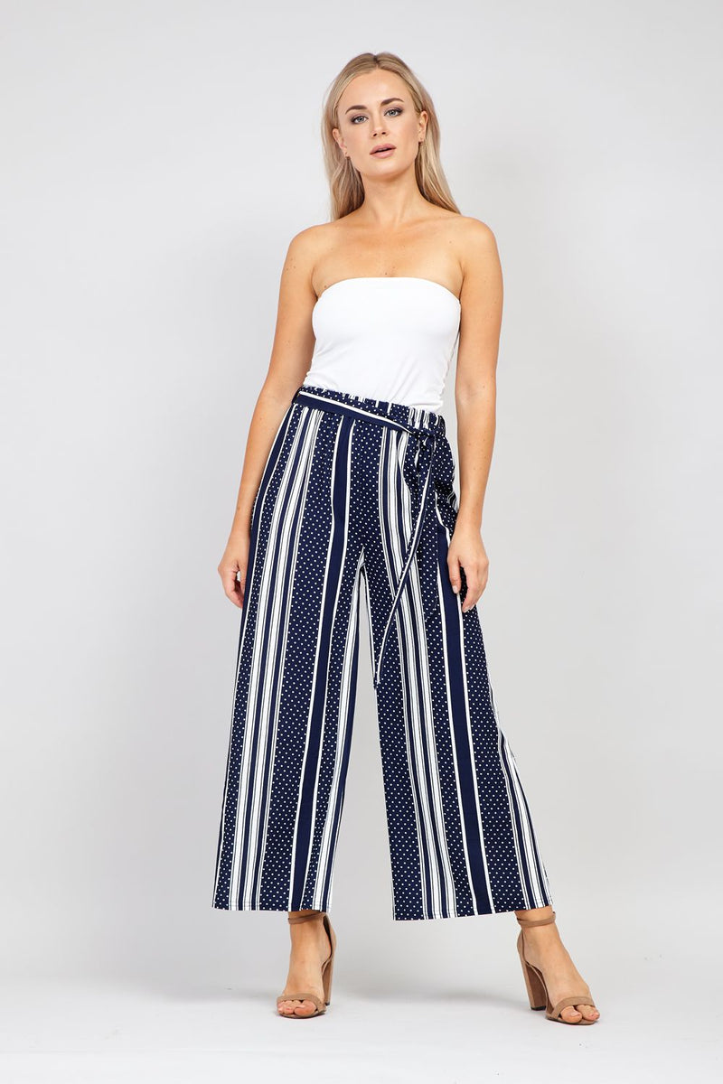 Navy | Striped Wide Leg Trousers