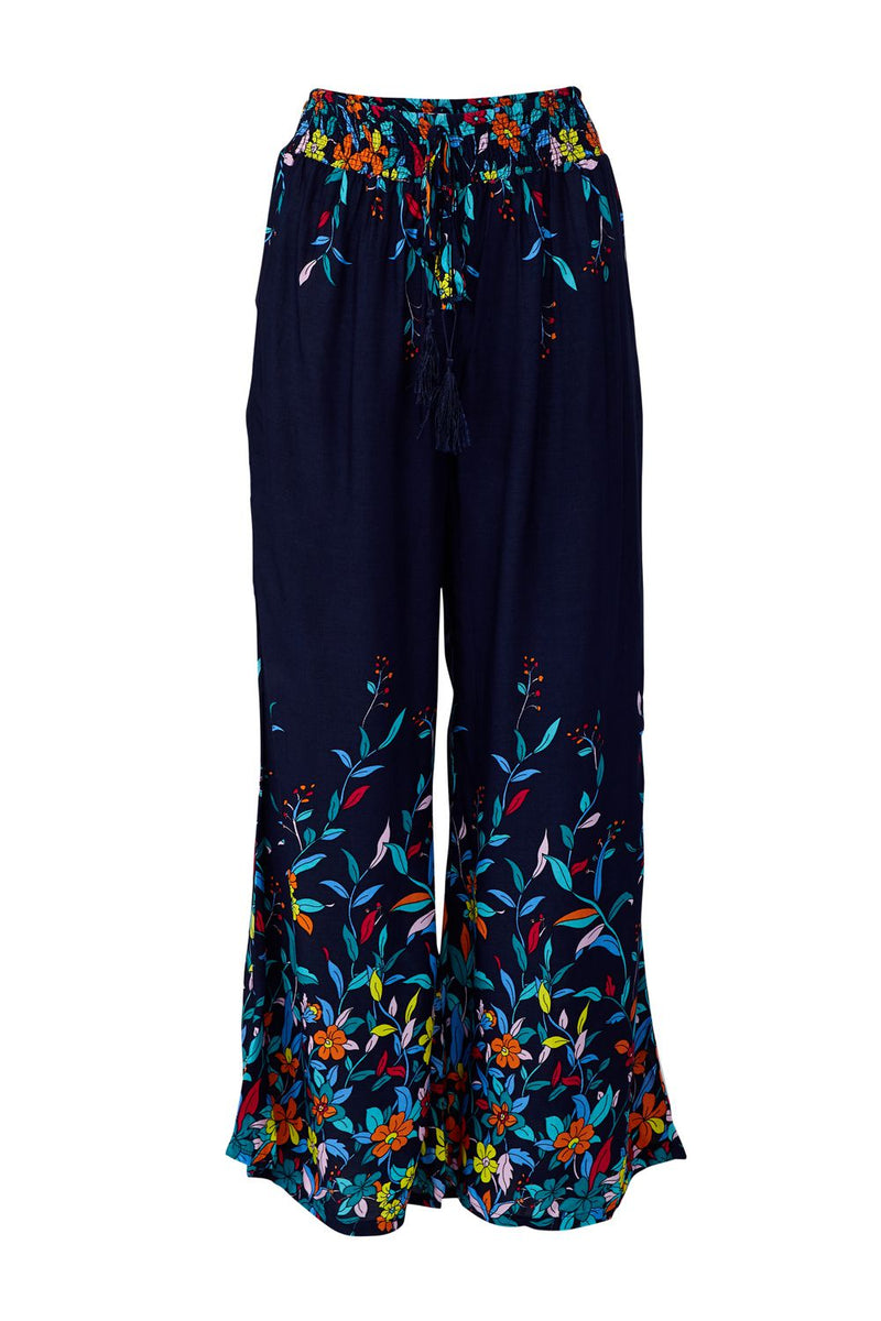 Navy | Floral Wide Leg Trousers