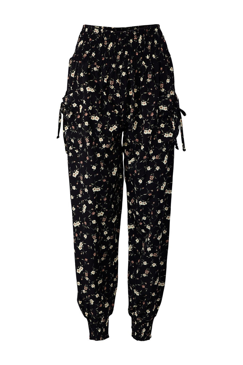Black | Ditsy Floral Trousers