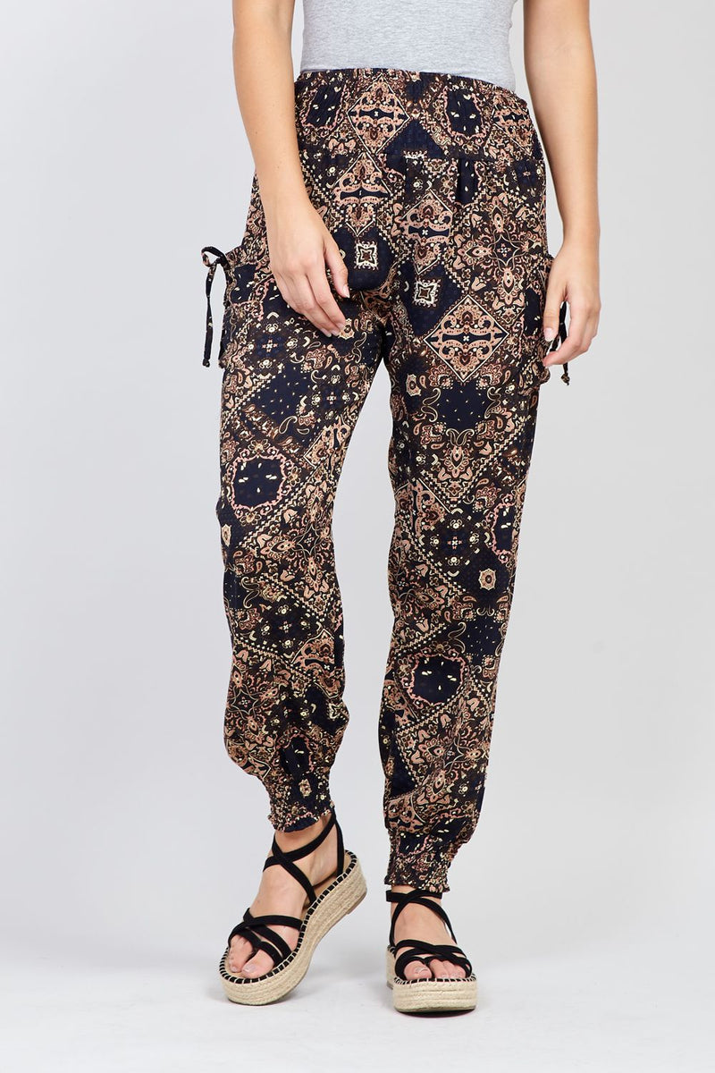 Navy | Eastern Print Trousers