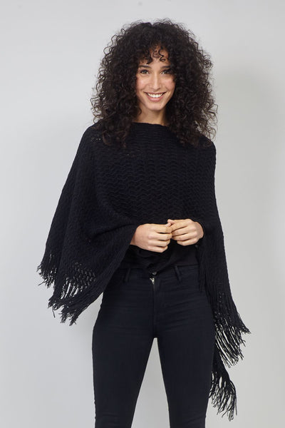 Black | Chevron Knitted Poncho