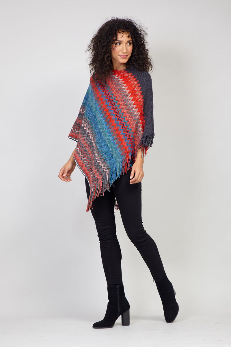 Red | Chevron Print Fringed Poncho
