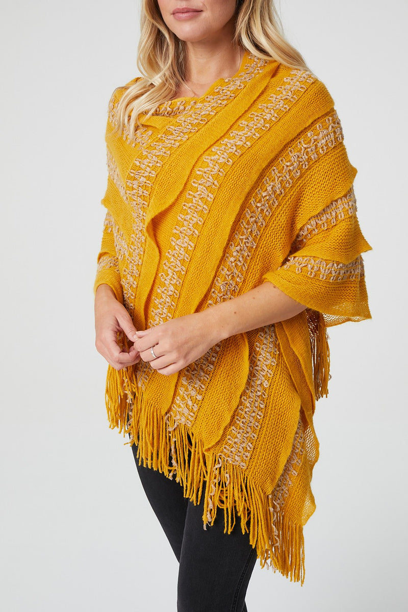 Mustard | Pleat Detail Fringed Poncho