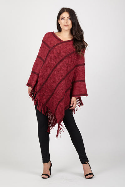 Tassel Trim Poncho - Izabel London