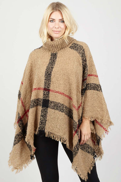 Roll Neck Blanket Cape - Izabel London