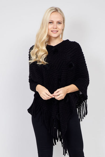 Black | Knitted Fringed Hem Poncho