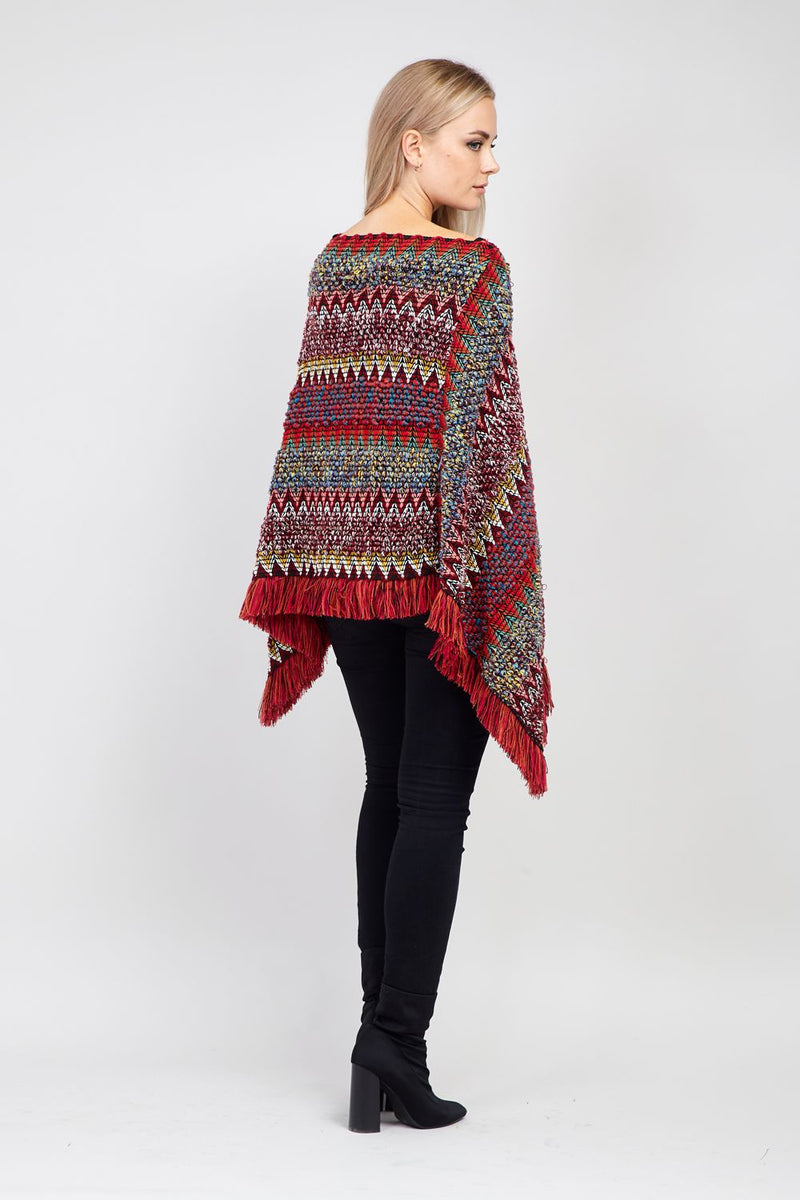 Red | Chevron Knitted Poncho