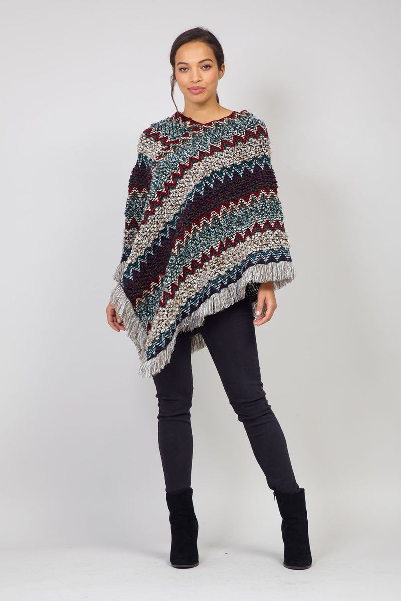 Navy | Chevron Knitted Poncho