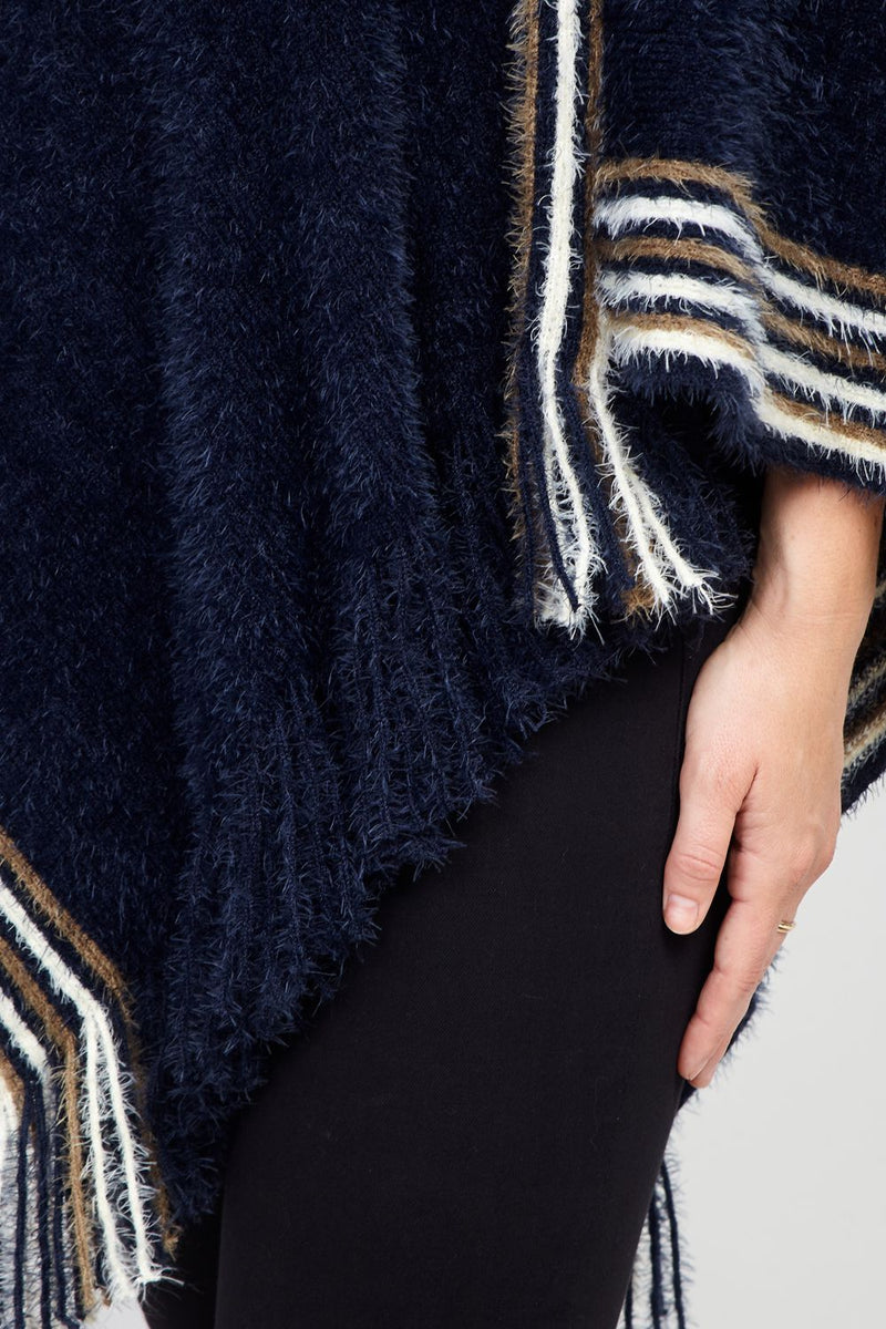 Navy | Striped Asymmetric Poncho