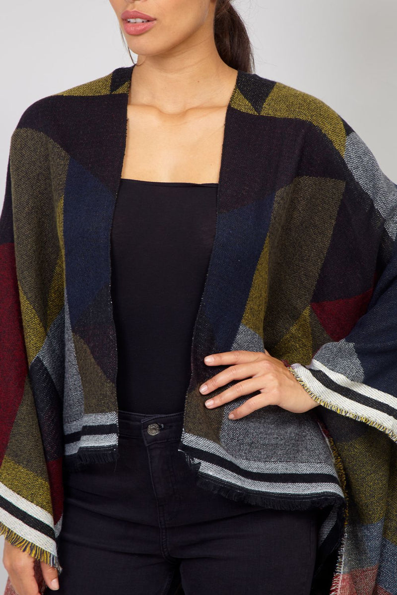 Green | Colourblock Cape Poncho