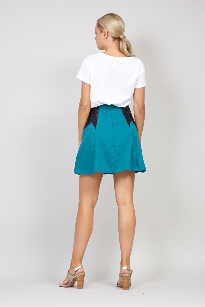 Green | PU Trim Mini Skirt