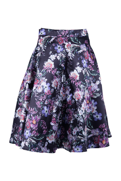 Floral Flare Cut Skirt - Izabel London