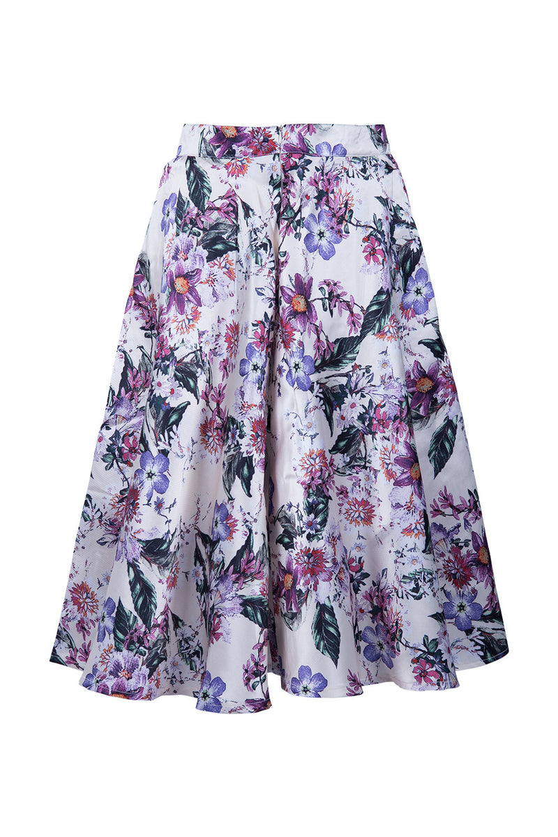 Black | Floral Flare Cut Skirt