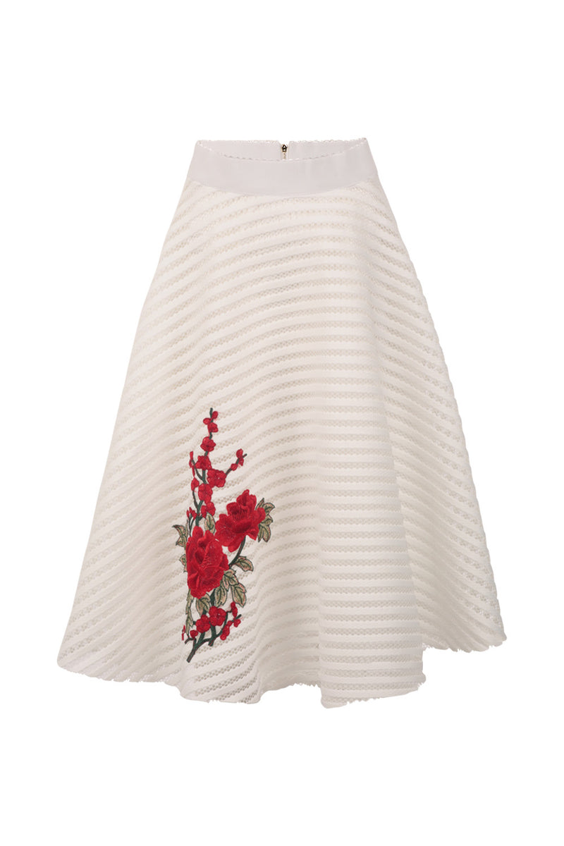White | Floral Embroidered Midi Skirt