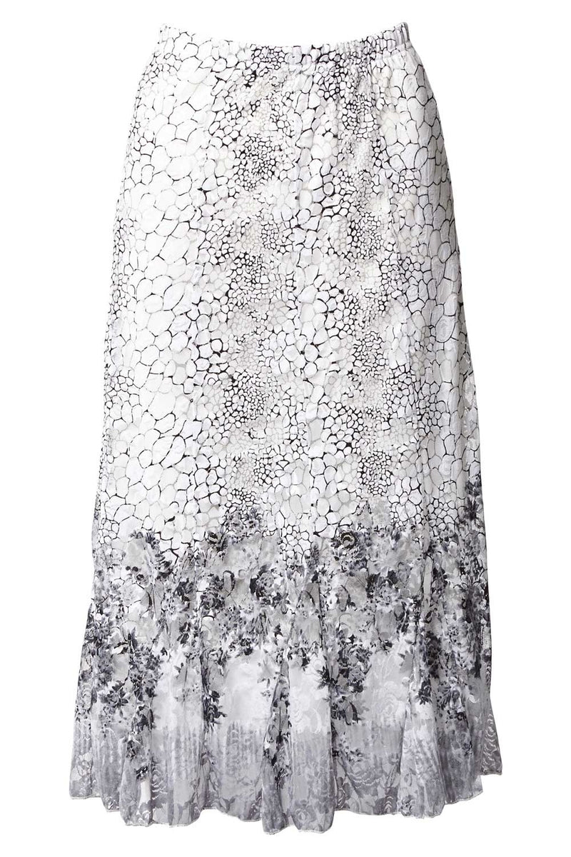 White | Pebble Print Midi Skirt
