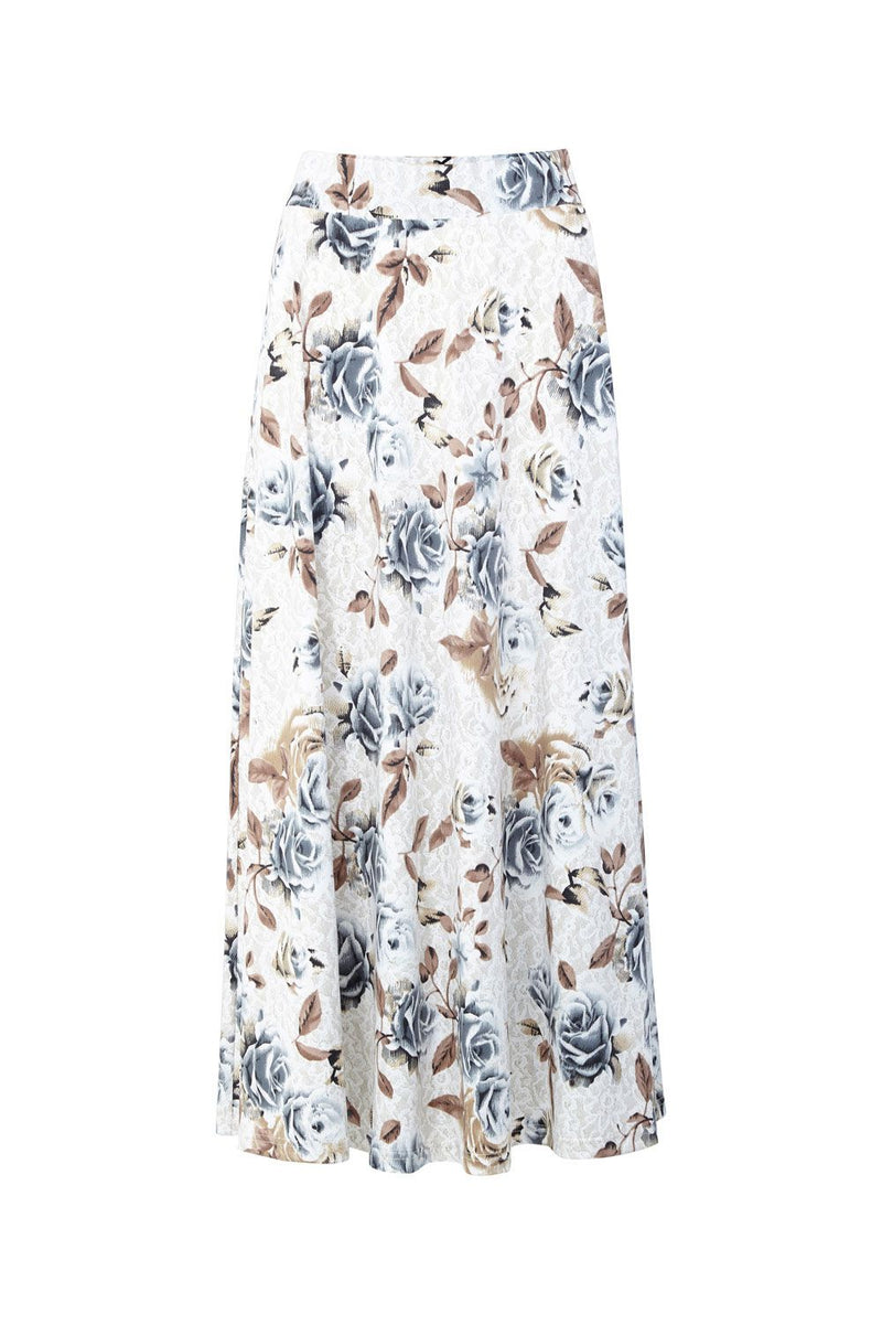 White | Floral High Waist Maxi Skirt