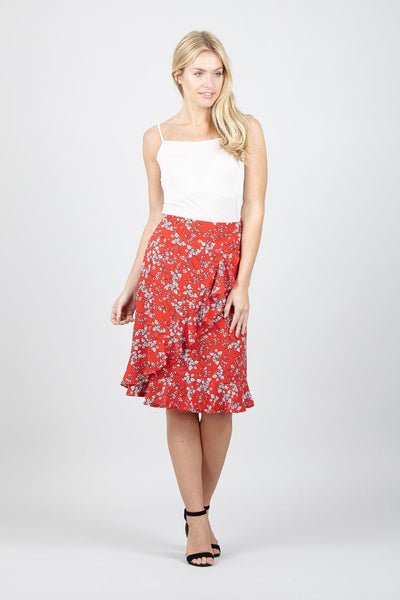 Red | Ditsy Floral Pephem Skirt | Izabel London