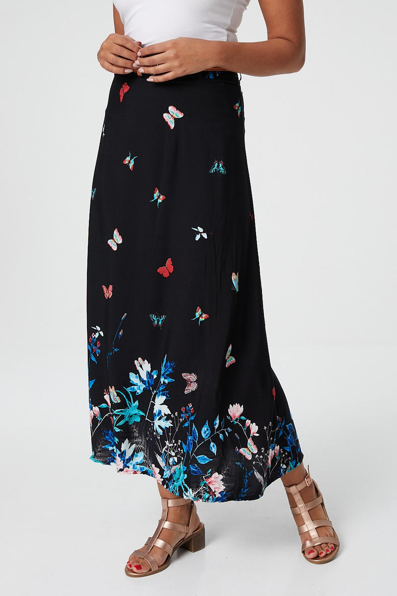 Butterfly Print Maxi Skirt - Izabel London