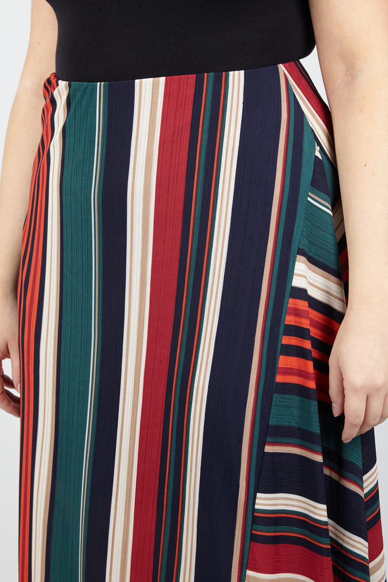 Curve Striped Asymmetric Skirt - Izabel London