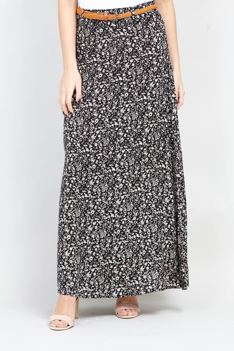 Black | Ditsy Floral Belted Maxi Skirt