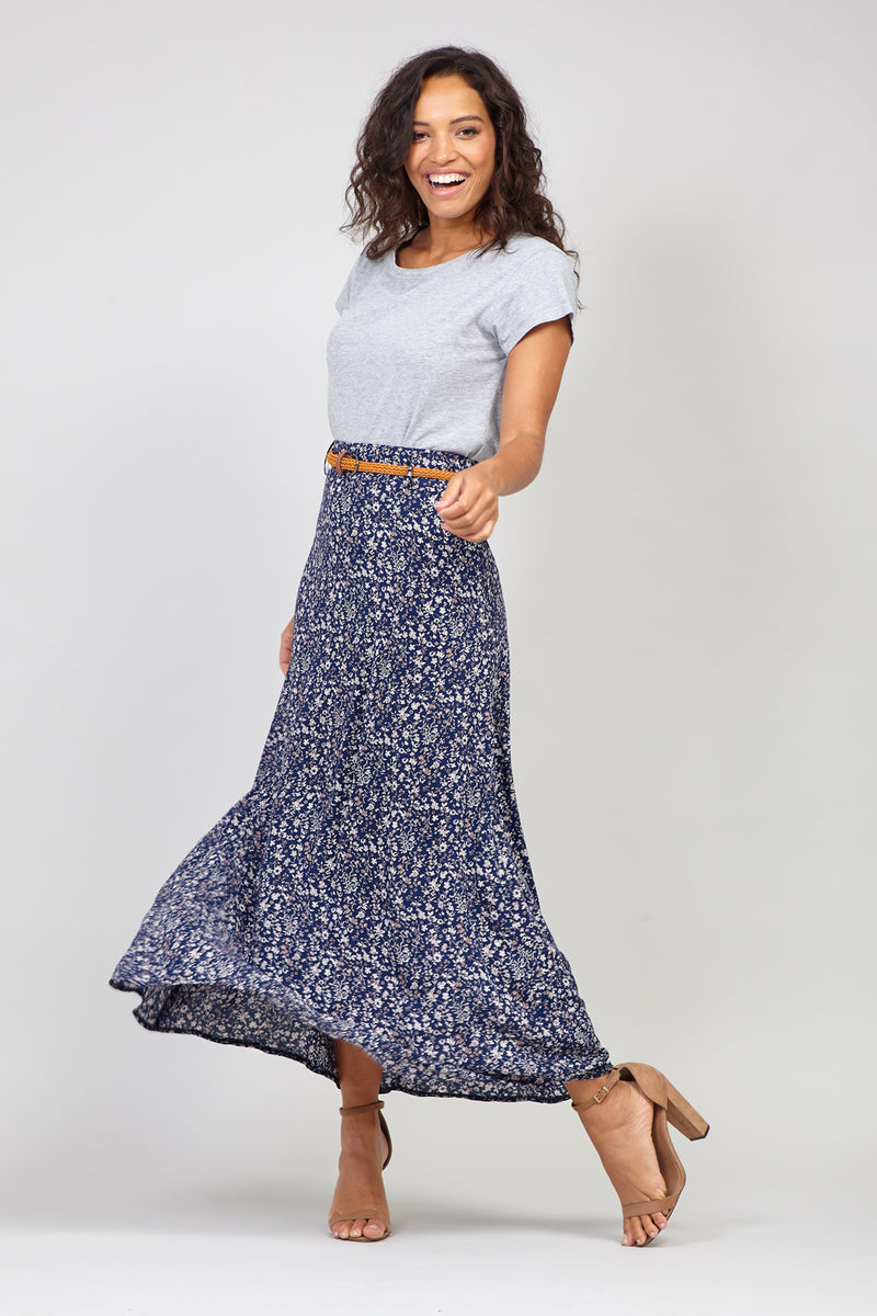 Navy | Ditsy Floral Belted Maxi Skirt