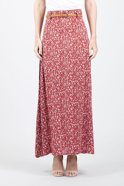 | Ditsy Floral Belted Maxi Skirt | Izabel London