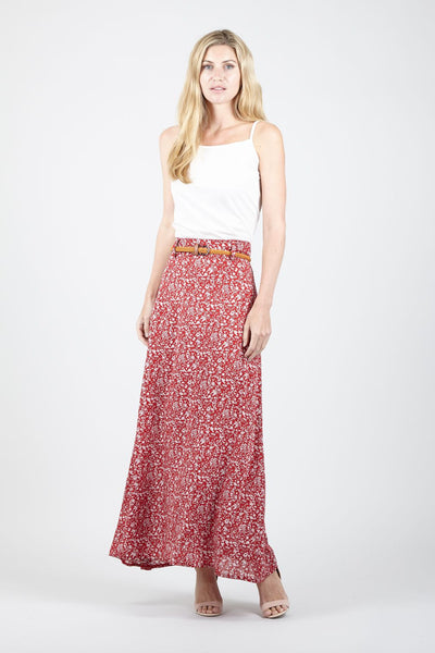 Red | Ditsy Floral Belted Maxi Skirt | Izabel London