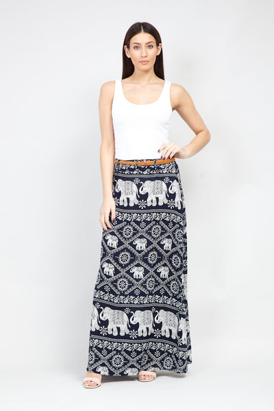 Navy | Elephant Print Maxi Skirt | Izabel London