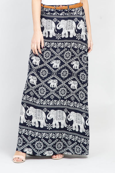| Elephant Print Maxi Skirt | Izabel London