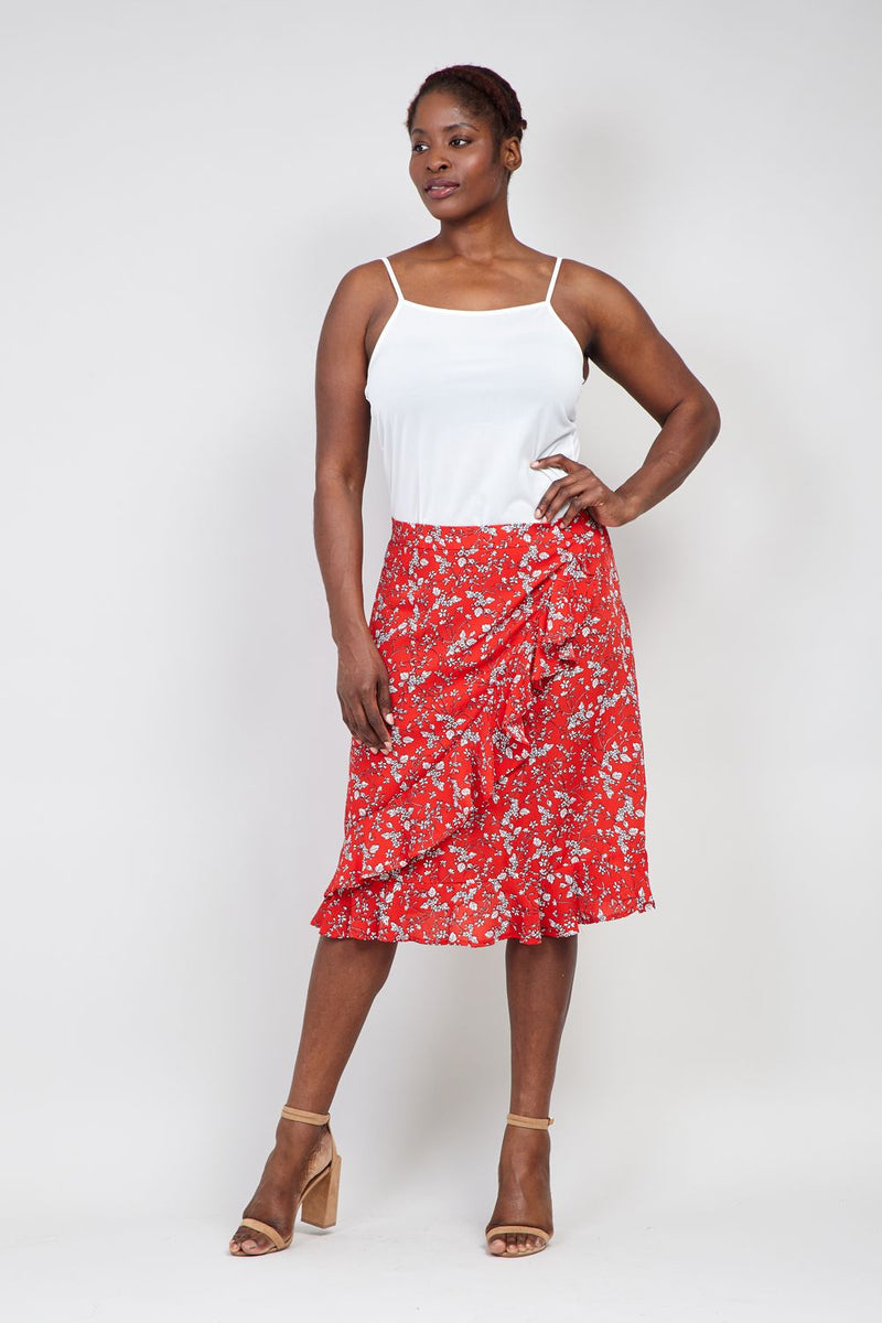 Red | Curve Ruffle Front Pephem Skirt