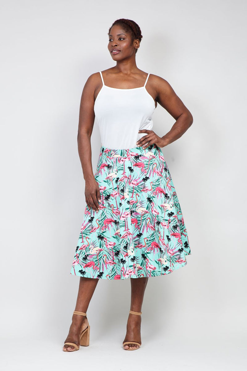 Green | Curve Flamingo Print Midi Skirt