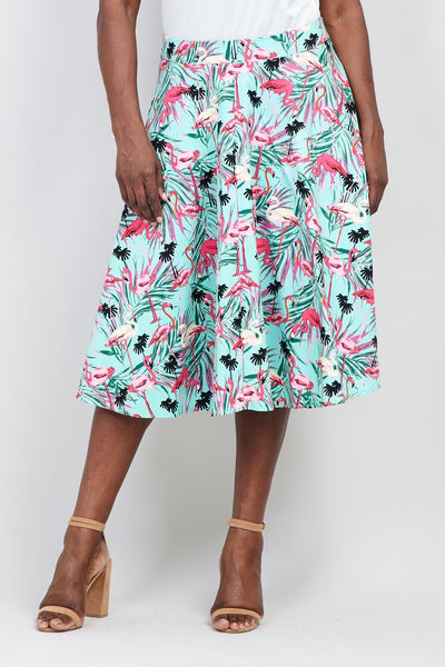 Curve Flamingo Print Midi Skirt - Izabel London