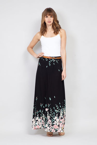Black | Floral Border Print Maxi Skirt | Izabel London