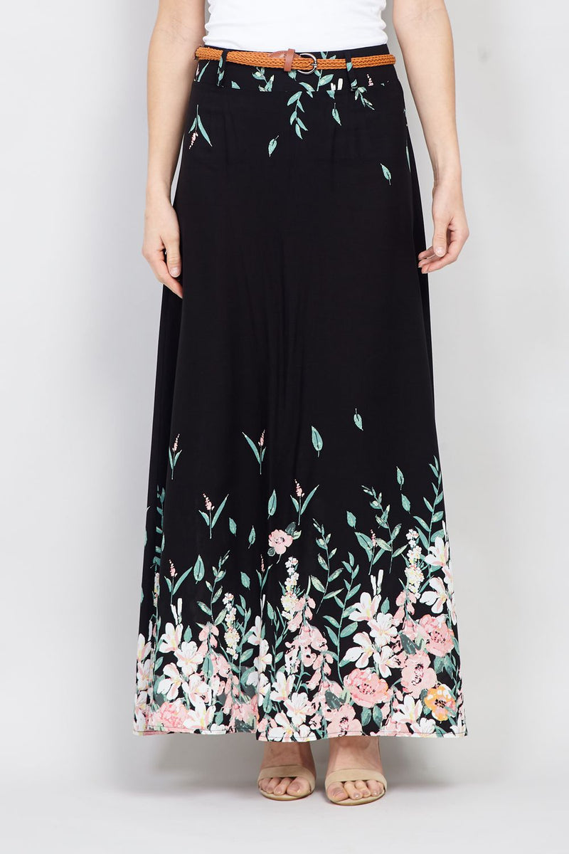 Black | Floral Border Print Maxi Skirt
